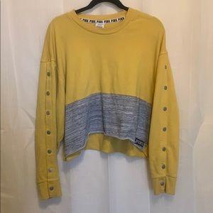 PINK Victoria's Secret Yellow Crop Sweatshirt